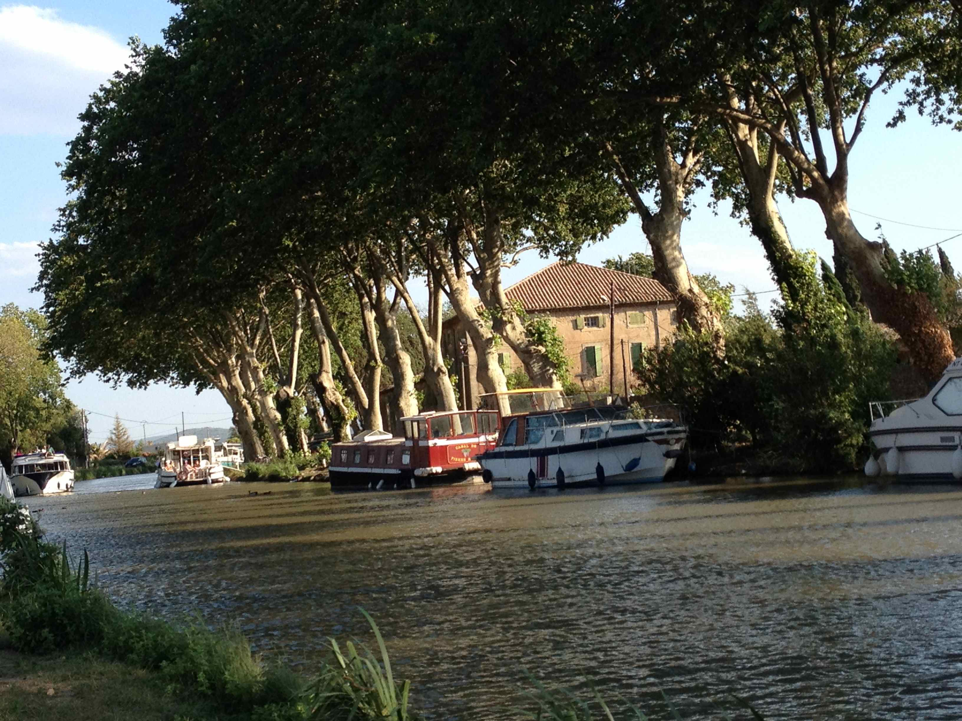 Boats on Canal du Midi at Le Somail